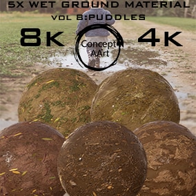 5 AAA Quality Wet Ground Materials for all platforms. All Textures have their own 8K,4K,2K and 1K version and ready for every kind of project.