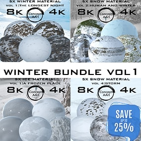 Super Realistic Winter material Bundle for all platforms. All Textures have their own 8K,4K,2K and 1K version and ready for every kind of project.
