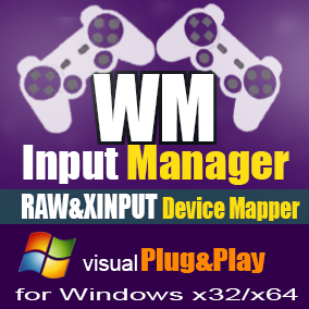 Realtime Visual RAWINPUT/XINPUT unified INPUT & USB Device Manager with ability to remap, assign, configure gaming controllers during runtime. Each device has own config memory with 2 configurable modes for each device remembered