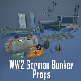 A quality set of props that can be used for creating World War 2 German Bunker Scenes.