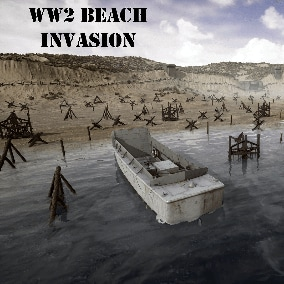 Realistic WW2 Invasion Beach environment with coastal guns and defenses