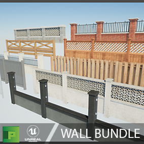 This pack contains 10 wall style variations, with 3 sizes each, all modularly built to give your design team an easy way to quickly block your levels walls. Over 150 meshes should be a great start to any world building team.