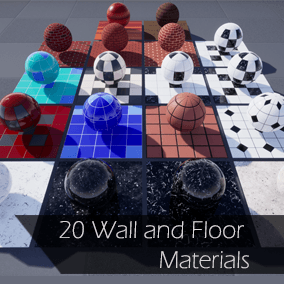 Contains 20 PBR wall and floor materials. Adjustable parameters. Various materials including tiles, wood, marble, and carpet.