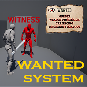 With the Wanted System you will be able to easily create a list of crimes, which the player can be wanted for, if he has been seen by a witness. Crimes are classified hierarchically.
