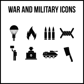 100+ icons related to war and military objects.