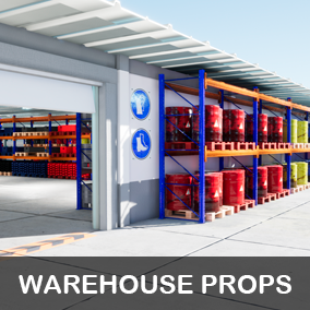 Modular warehouse with many industrial props and one complete demo level