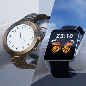 Realistic watches which work in real time.