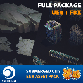 The full package for UE4 and FBX files of our Water World Submerged City environment containing over 60 modular pieces of Stylized, game ready meshes and materials, ranging from buildings, props, foliage to destroyed components and more
