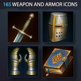 Set of 165 realistic weapon, armor and equipment icons.