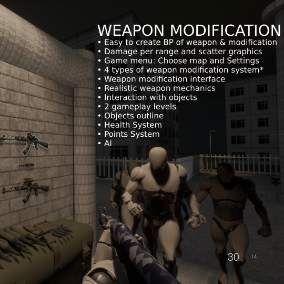 The project provides to you custom weapon modification. Add a new weapon or modification in one click!
