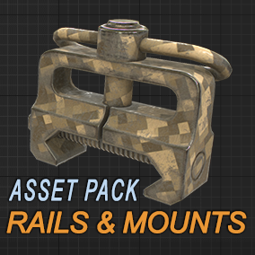 Pack of rails and mounts with different skins suitable for weapon customization.