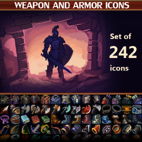 A set of 242 hand drawn weapon and armor icons.