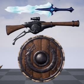 30 Weapons, Helmets, & Shields.