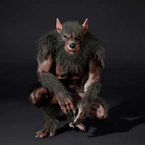 Werewolf with face rig ,low poly model