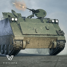 The Vigilante APC M113 is an armored personnel carrier outfitted with a 12.7 mm machine gun, is fully rigged, has animated tracks, doors, hatches and machine gun.  This vehicle is DIS/HLA (RPR FOM) Integration ready. Designed for simulations.