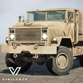 The M923 Truck (West) is a 5-ton 6x6 U.S. military transport truck that comes with Desert and Forest textures, is fully rigged, has animated wheels, tires, and doors.  This vehicle is DIS/HLA (RPR FOM) Integration ready. Designed for simulations.