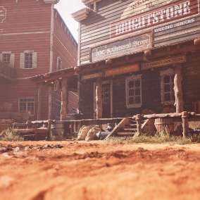 Complete western desert environment with over 215 models including modular buildings, large set of props, furniture's, nature assets, and dynamic day/night cycle with rain options.