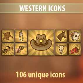 Set of 106 hand drawn Western Icons.