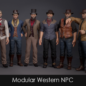Multiple western heads, chests, pants and shoes with spurs are ready to be assembled to your own unique Western NPC. The pack also includes a few static meshes and a sheriff's badge