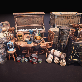 What you are getting is a pack of different western themed prop assets (69 total) Models have built in colliders, LODs. Every model have base color, metallic, roughness and occlusion maps. Assets are built with AAA quality and budget.