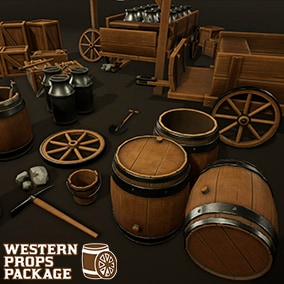 20 Low Poly Stylized PBR Western Props, ready to use in any project.