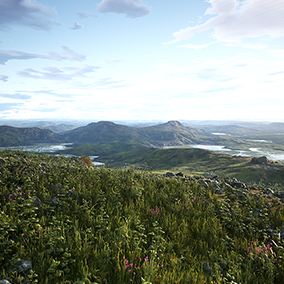 Highly detailed 400 square kilometer photorealistic wetland landscape. Includes modular rocks, plants, wind system and much more. All materials modular and highly tweakable, can easily be customized or extended.