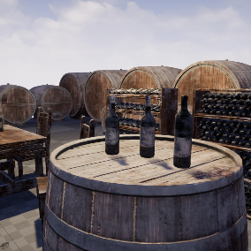 Old, dusty barrels, wine bottles, shelves, table and chair