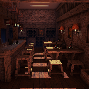 This is an architectural visualization project of a modern wine bar.