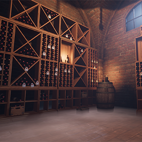 A small set of wine shelves and crates.