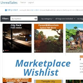 Create collections of UE marketplace products that you would like to keep and buy later.