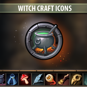 Set of 105 hand drawn Witch Craft Icons.