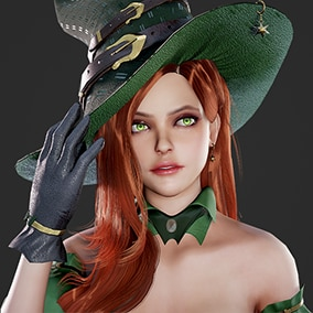 3D model of cute witch. Contains 4 color variations for eyes, hair, clothes and hat.