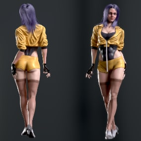 Low-poly female charater with supreme cloth for your game