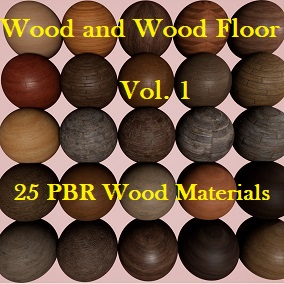 A pack of 25 Wood and Wood Floor PBR materials.