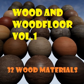 A pack of 32 Wood and Wood Floor PBR materials.