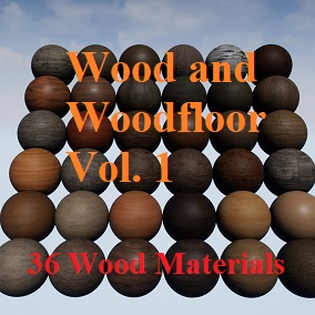 A pack of 36 Wood and Wood Floor PBR materials.
