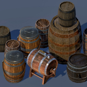 A set of realistic PBR Barrels used in scene environment.