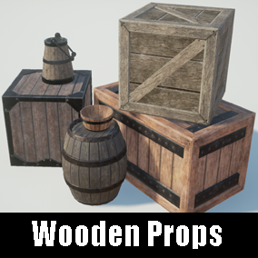 There are 6 wooden boxes and props.