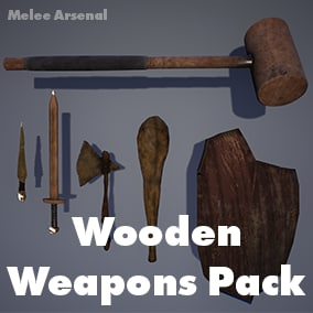 6 Wooden Weapons  with Customizable Materials