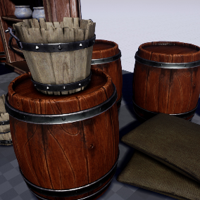 Medieval wooden props plus 2 candles, pot and bag