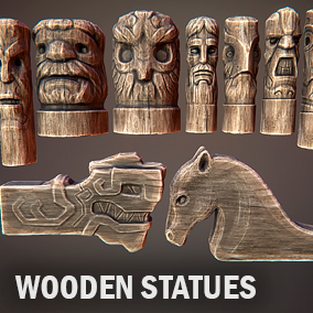 Here you can find few wooden statues.