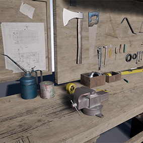 Workbench With Tools - A asset pack of vintage tools and an old workbench.