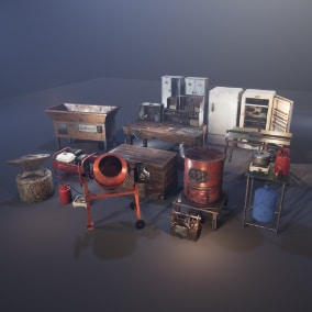 Basic set for game crafting and processing of raw materials.