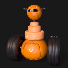 Animated Worker Robot with simple rig and 3 variants of materials