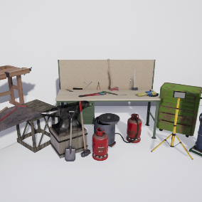 A set of workstations and basic tools