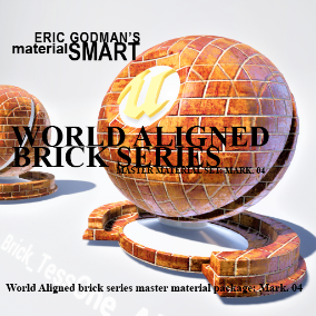 A Set of 18 smart master material blueprints with high customization features for brick/tile related material instances, featuring mobile materials, grunge options, normal mip bias options, bump offset, tessellation, and world aligned option.