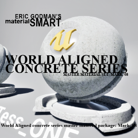 A Set of 19 smart master materials with world aligned features for concrete/tile related material instances, featuring surface/roughness distortion, far-field normal map fall off, bump offset, and tessellation.