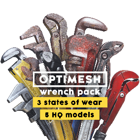 5 high quality wrench models; 3 states of wear; detailed 4K PBR materials; 10 color options; 36 variants total