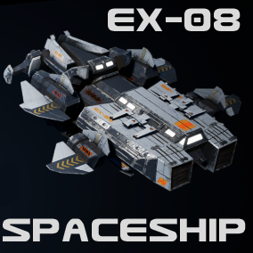 The XE-08 Spaceship is small transport, scout and exploration vessel with an industrial used look and feel.  The ship boasts a variety of features and looks great in VR