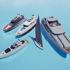 A set of 5 highly detailed yachts with detailed interiors